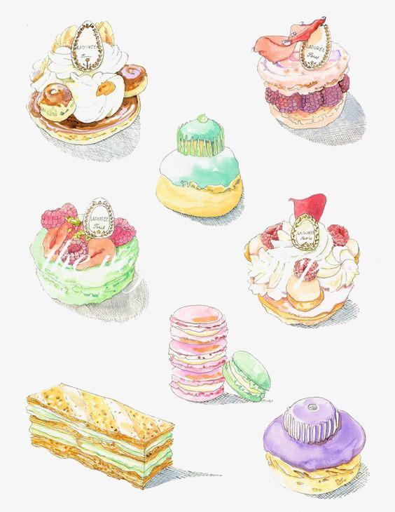 手绘甜点蛋糕马卡龙甜点插画手绘卡通