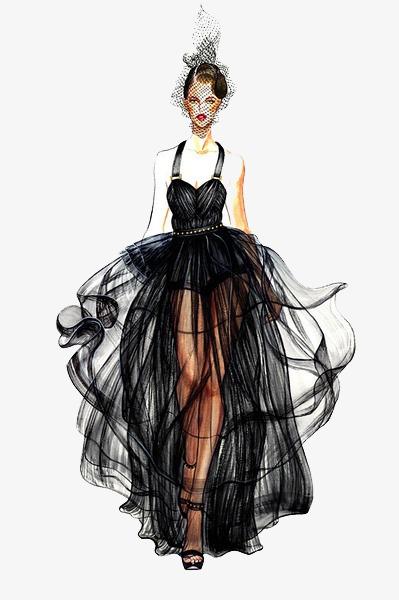 黑色婚纱裙子设计