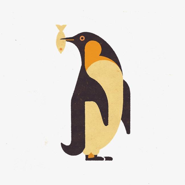 复古手绘企鹅吃鱼