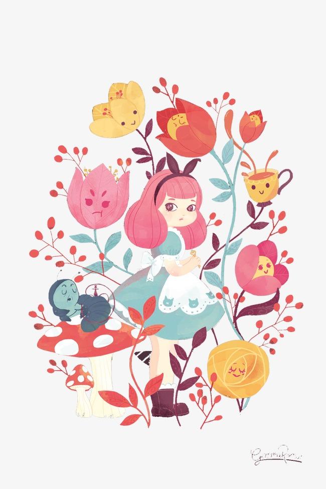 手绘可爱女孩花朵手绘插画卡通贺卡封面创意插画设计手绘女孩手绘花朵花仆女女童可爱女童女孩连衣裙卡通女孩