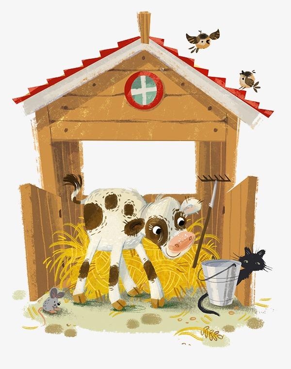 可爱手绘牛棚小猫png素材-90设计图片
