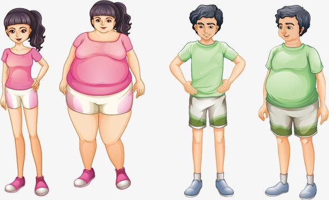 减肥卡通人物矢量图减肥运动瘦身女性男性健康卡通人物彩色手绘广