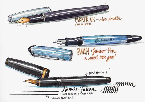 水彩手绘钢笔