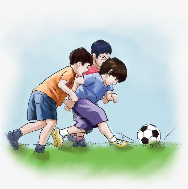 卡通手绘踢足球的孩子