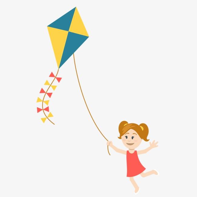 卡通手绘放风筝的小女孩矢量素材图片免费下载 高清卡通手绘psd 千库图片