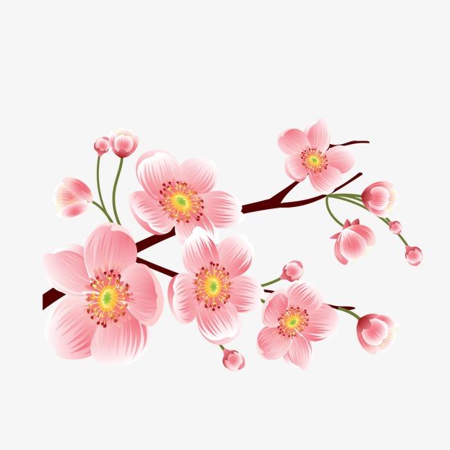 手绘桃花矢量素材