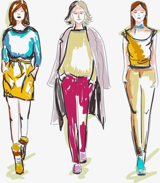服装模特女装效果图 矢量 手绘             此素材是90设计网官方