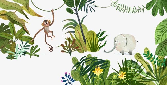手绘猴子大象森林