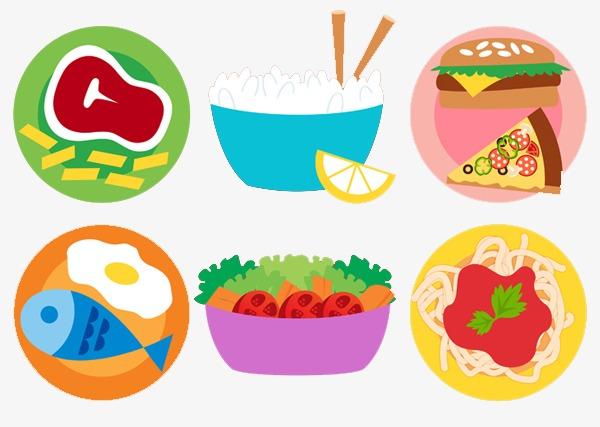 卡通米饭沙拉鱼肉牛排图片