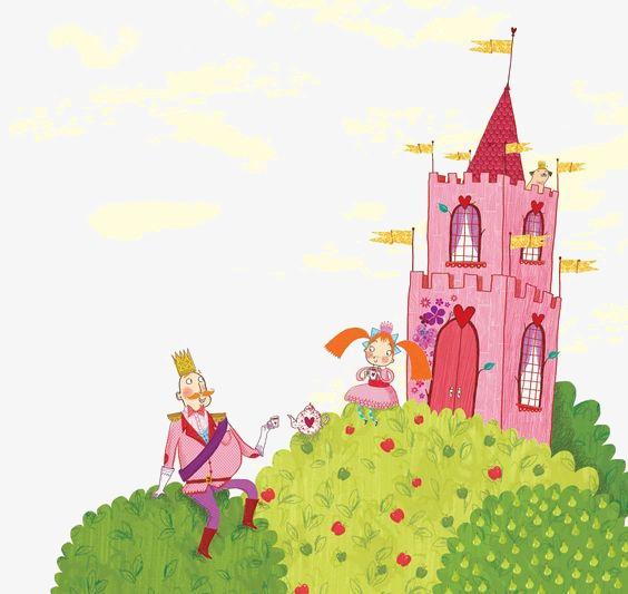 手绘梦幻城堡插画手绘卡通城堡粉色童话儿童公主-手绘梦幻城堡素材