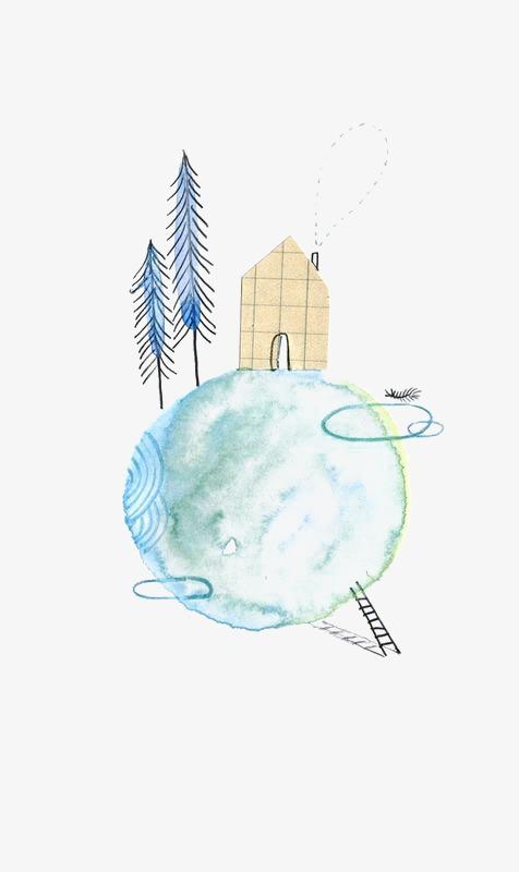 手绘星球上的房子素材图片免费下载 高清卡通手绘png 千库网 图片编号4150310图片