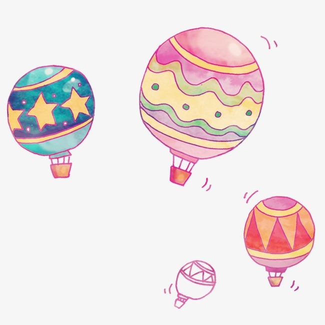 矢量手绘卡通热气球