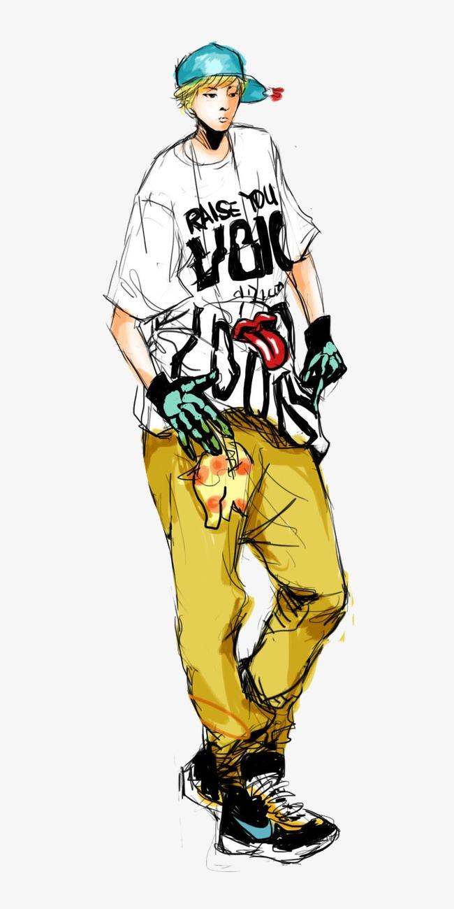 嘻哈朋克帅气青春男孩手绘