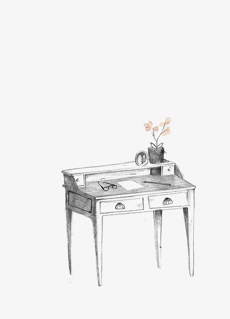 手绘素描书桌png素材-90设计