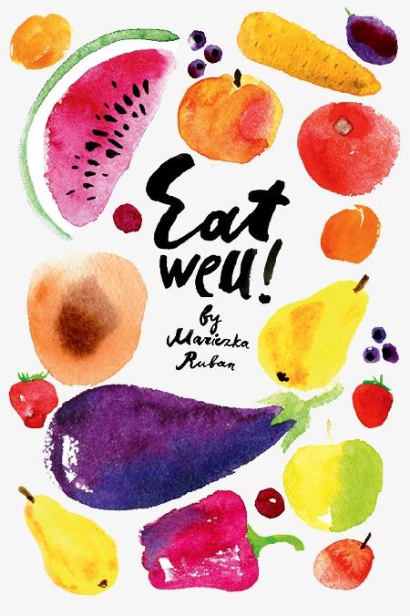 卡通手绘水彩水果蔬菜素材