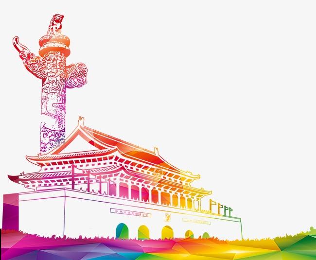国庆节两会天安门华表手绘