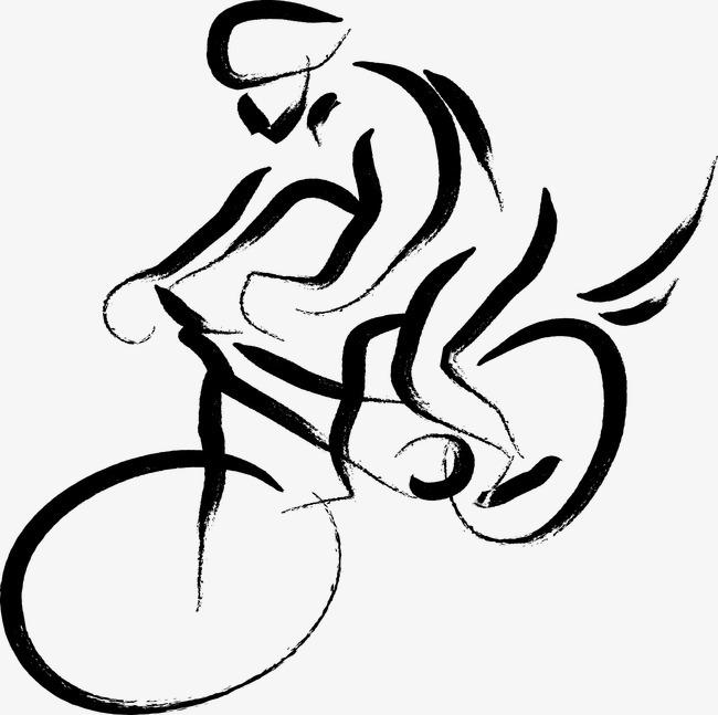 手绘简笔画骑自行车