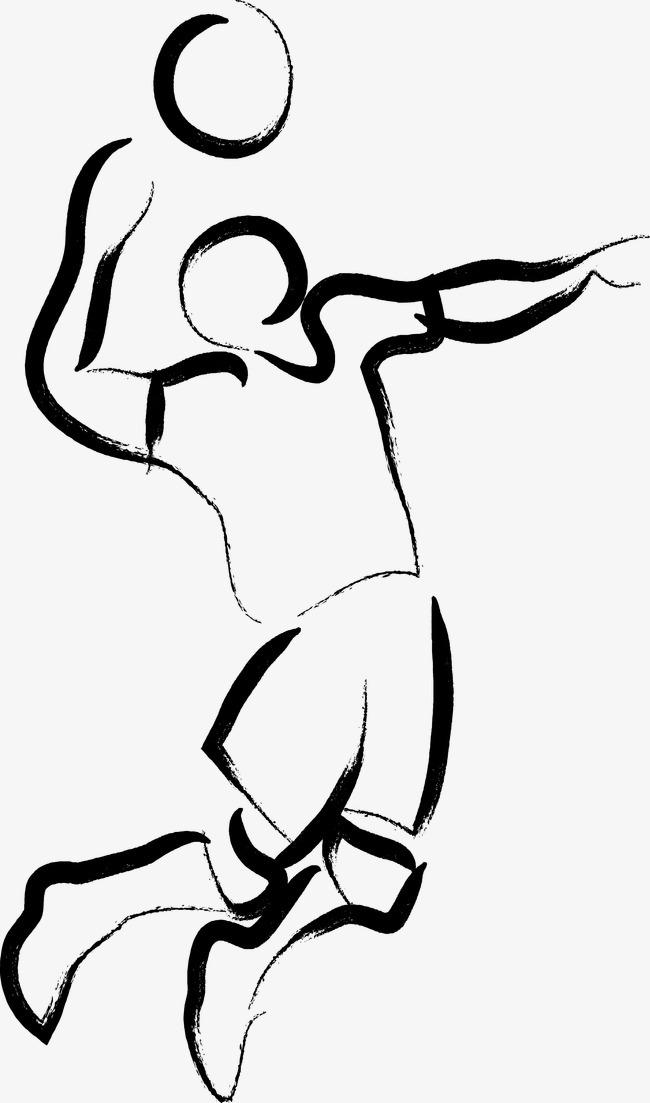 手绘简笔画排球