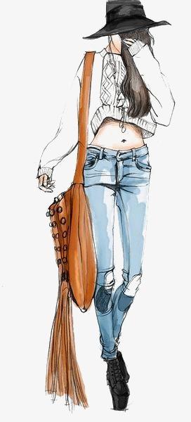 手绘时尚女孩流苏牛仔裤穿搭秋冬毛衣插画手绘卡通服装设计时尚马克