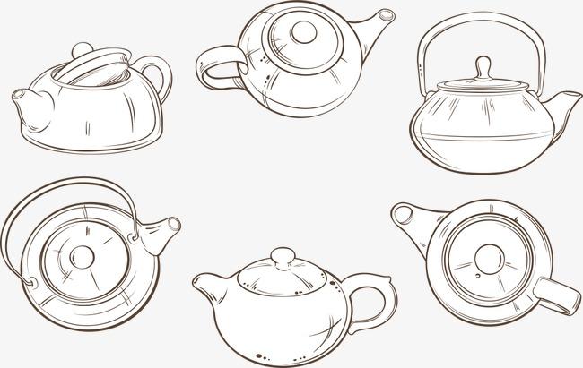 矢量手绘茶壶
