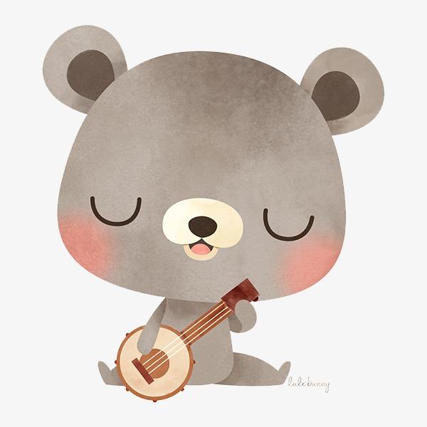 手绘可爱小熊弹琴