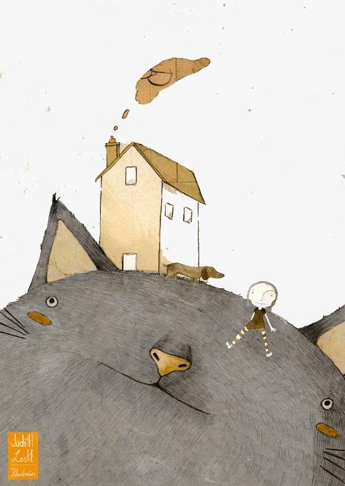手绘大猫房子小人png素材-90设计
