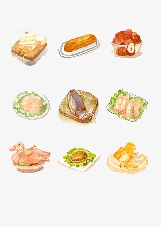 卡通手绘肉类食物