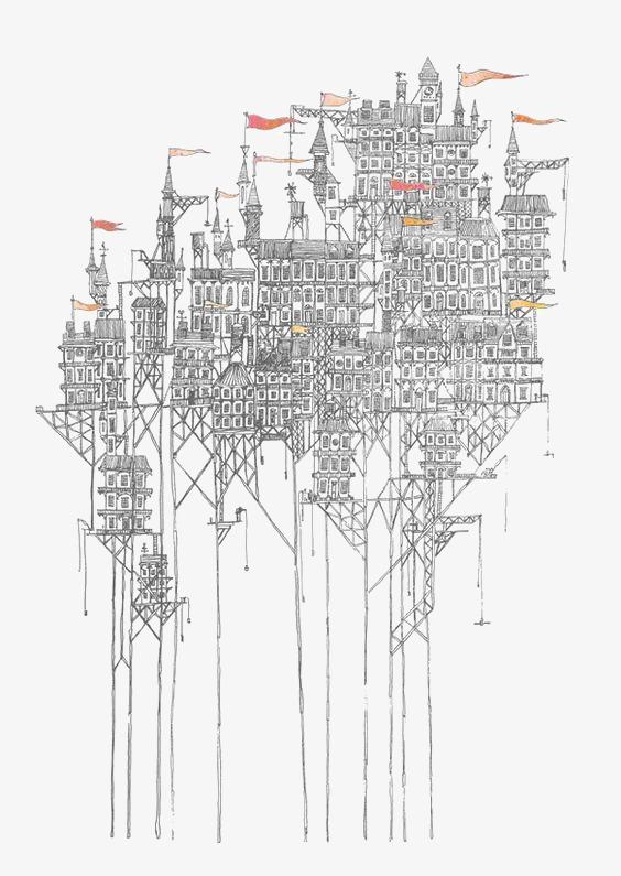 90设计提供高清png手绘动漫素材免费下载,本次创意建筑作品为设计师v图片