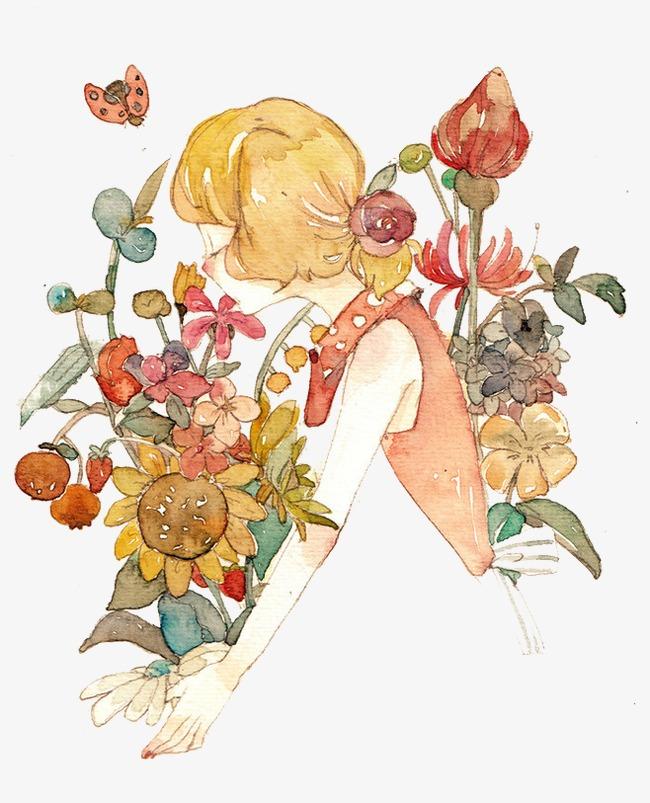 图片 > 【png】 闻花女孩  分类:手绘动漫 类目:其他 格式:png 体积