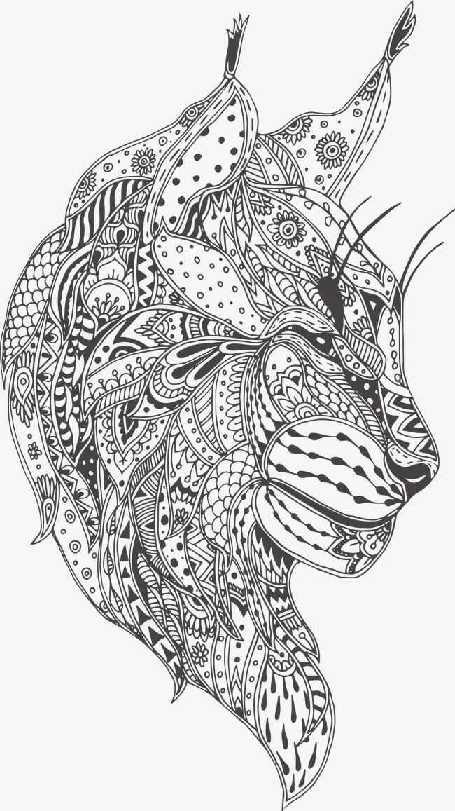 手繪花紋霸氣豹子頭