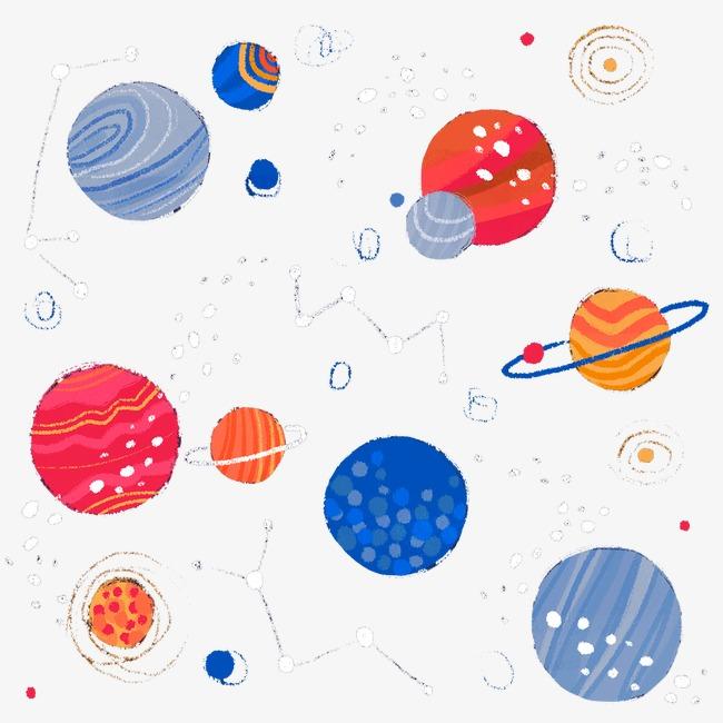 手绘五彩星空图案