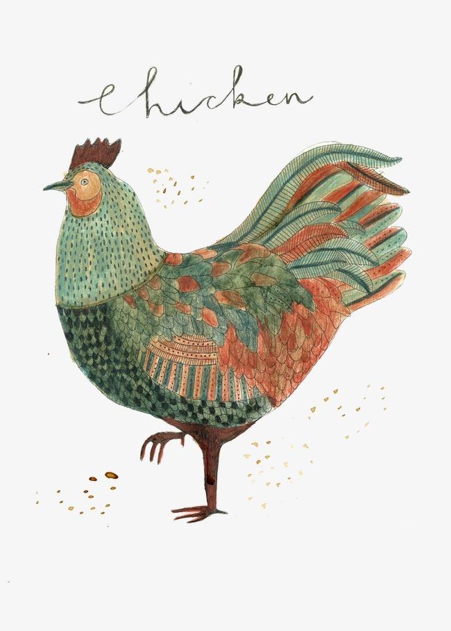 手绘水彩大公鸡图案
