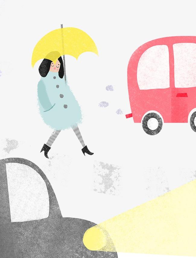 手绘拿伞女人过马路