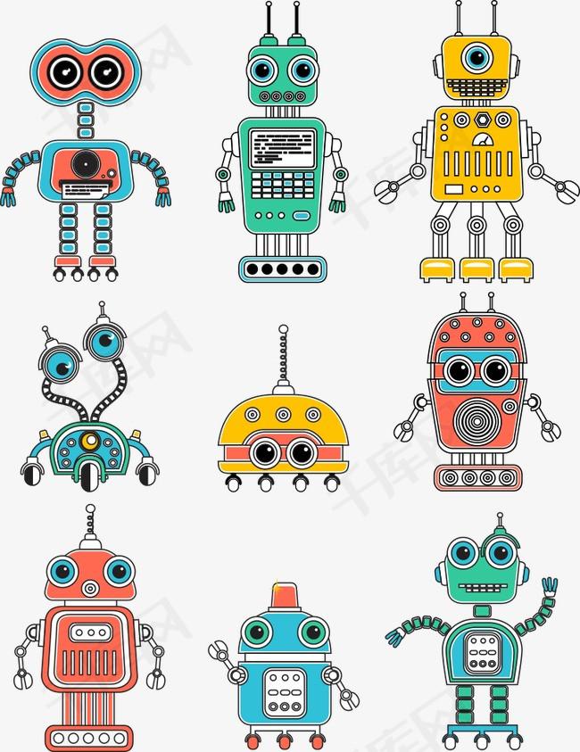 机器人简笔画彩色 机器人简笔画彩色简单 卡通机器人简笔画彩色 机器人