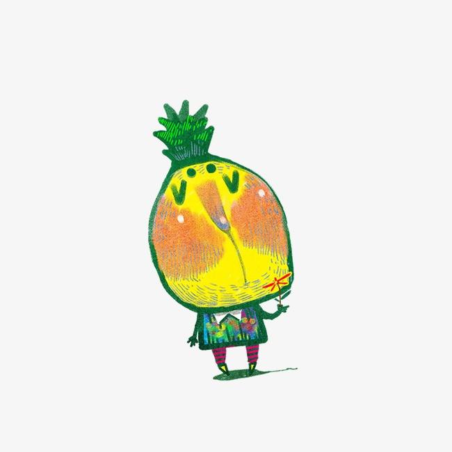 卡通  手绘  菠萝             此素材是90设计网官方设计出品,均做