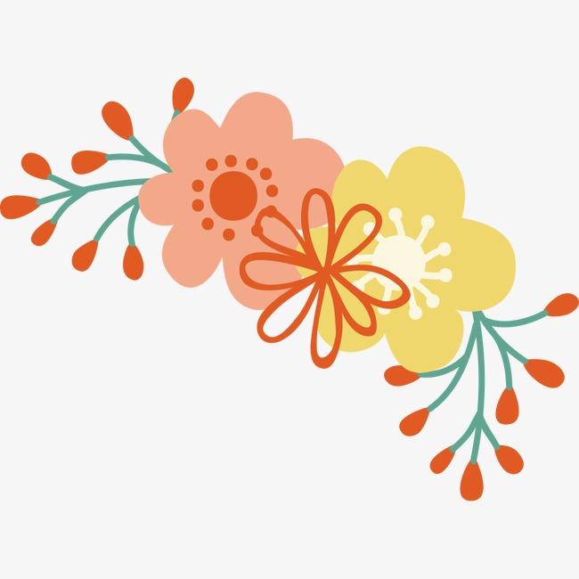 手绘文艺风花朵矢量素材