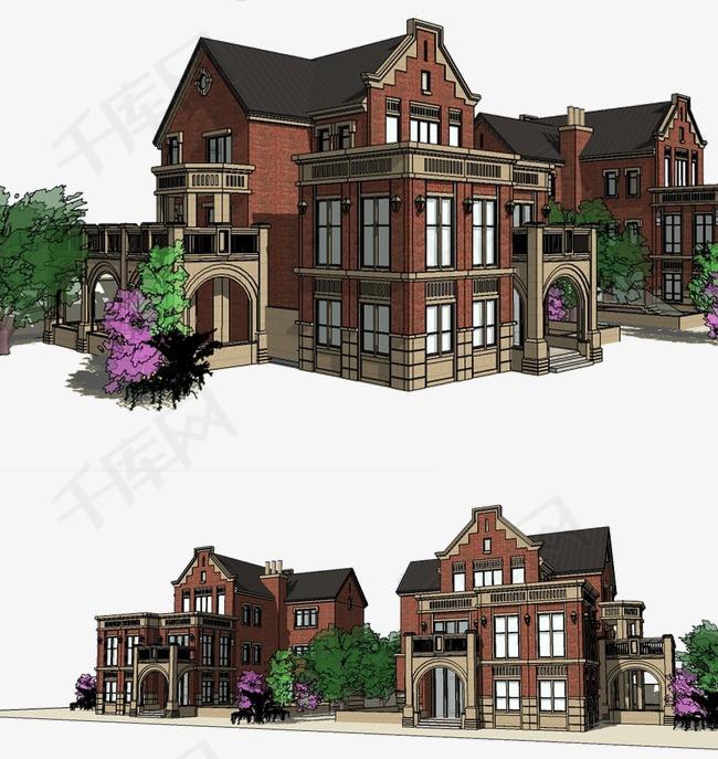 复式房子立体图别墅装修3D效果图立体房屋房屋修建模型图复式房子