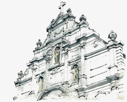 手绘教堂png素材-90设计图片