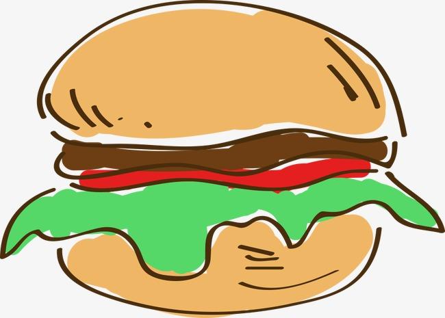 手绘卡通汉堡