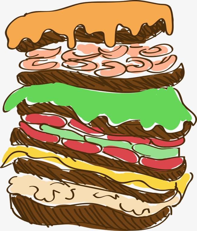 卡通手绘汉堡