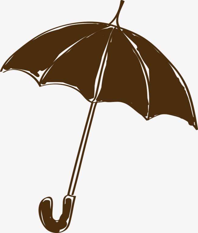 手绘黑色雨伞