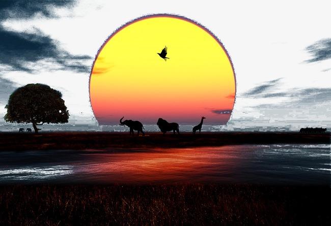 夕阳下的草原和动物