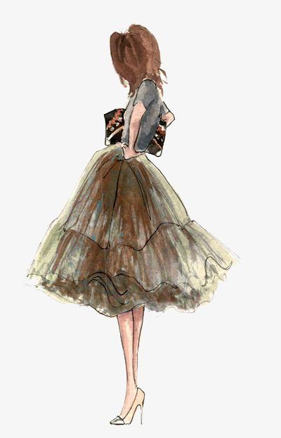 手绘创意时尚服装模特女装设计稿简约服装设计稿手绘女装-手绘创意