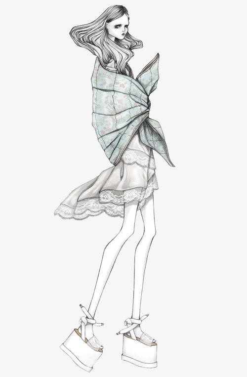 手绘时装模特 时装设计插画 创意服装设计             此素材是90