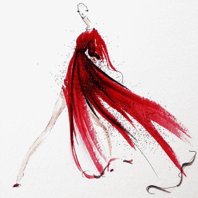 时尚女装手绘设计稿手绘时装手绘时装模特创意服装设计-时尚女装手