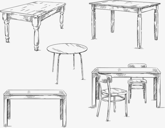 手绘各式桌子椅子