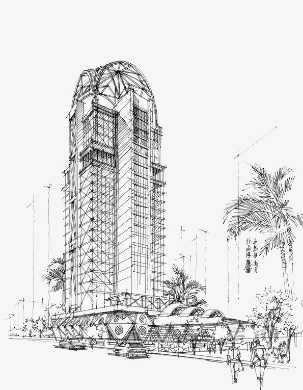 高楼大厦钢笔画【高清效果元素png素材】-90设计