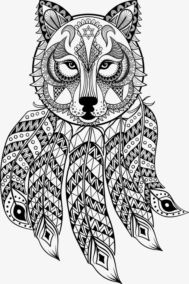 手绘花纹狼头素材图片免费下载 高清卡通手绘psd 千库网 图片编号