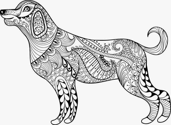 手绘抽象花纹狗狗