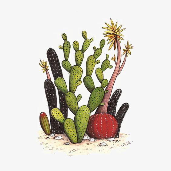 手绘仙人掌 卡通仙人掌 沙漠 植物             此素材是90设计网